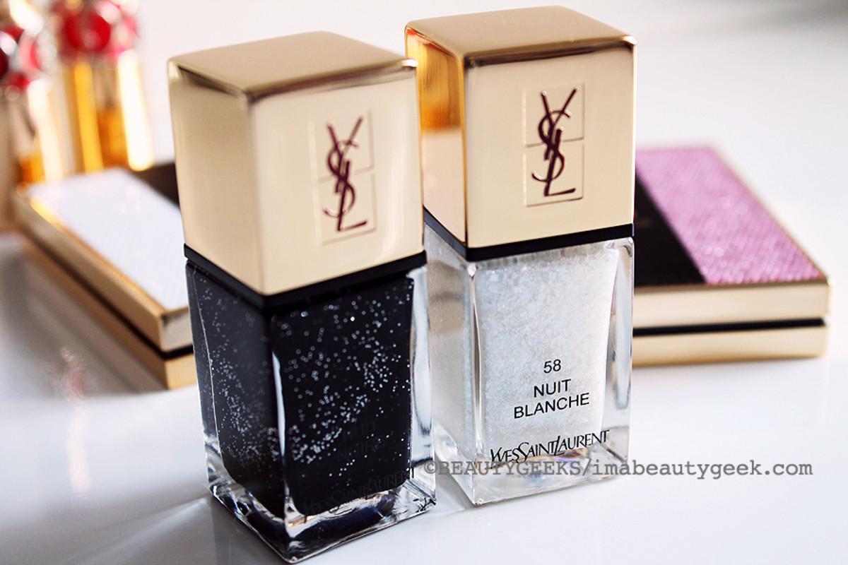 YSL Spring 2015_YSL La Laque Couture Les Sequins Manicure_59 Nuit Noire and 58 Nuit Blanche
