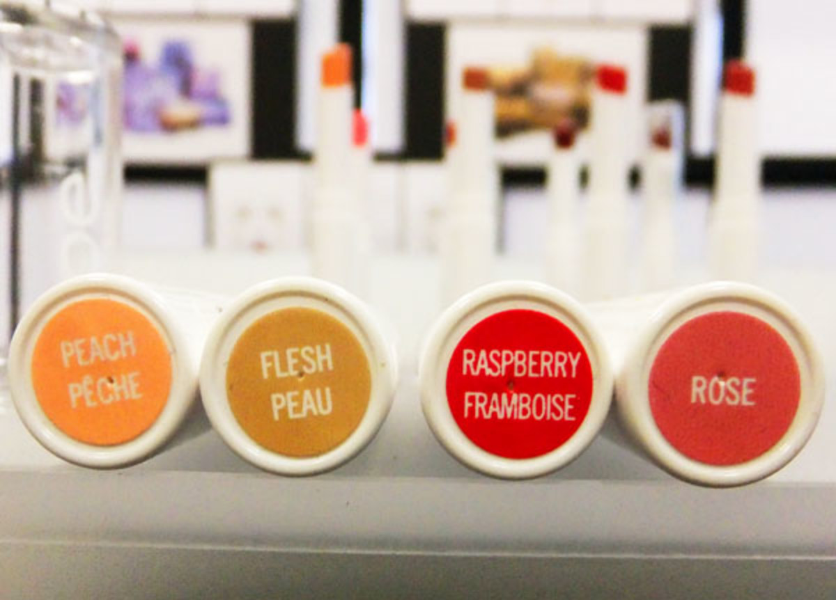 Joe Fresh Shine Lipstick_Peach_Flesh_Raspberry_Rose