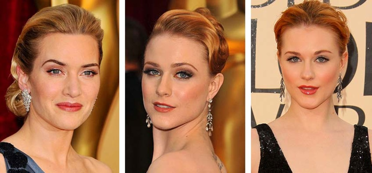 Kate Winslet and Evan Rachel Wood at the Oscars; Evan Rachel Wood at the Golden Globes.