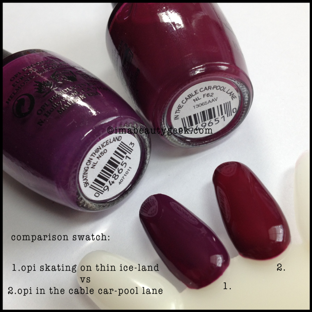 OPI Skating on Thin Ice-Land Comparison Swatch