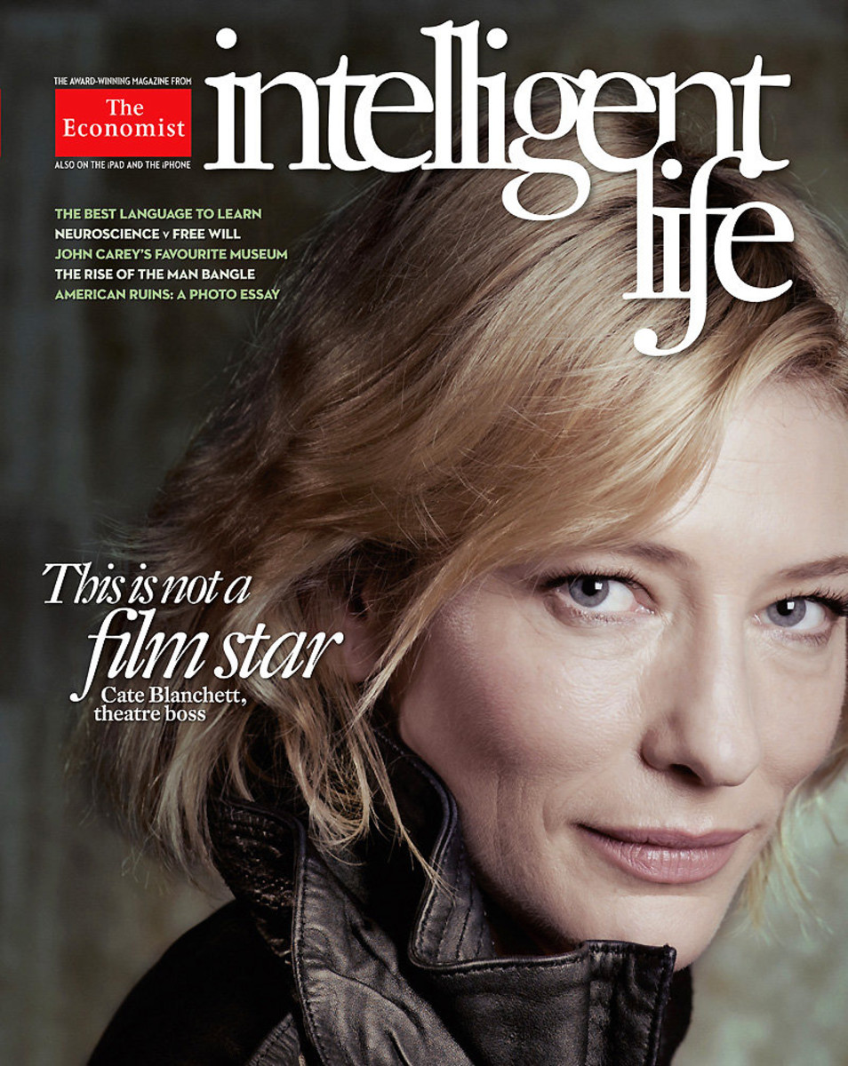 Cate Blanchett at age 42 in minimal makeup on a 2012 cover of Intelligent Life