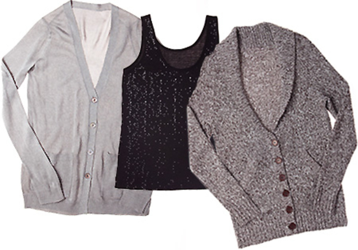 Marks Ispiri lurex cardigan $48 and sequin tank $38_twisted yarn boyfriend cardigan $59