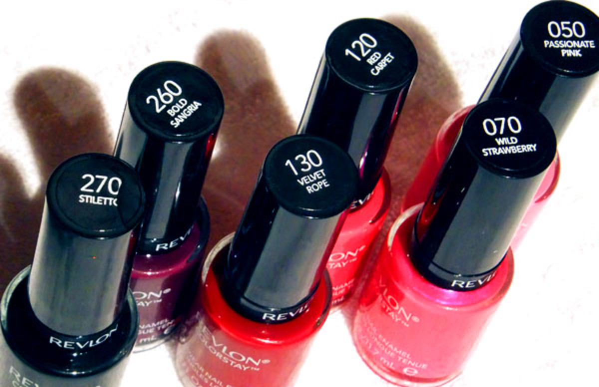 Revlon Colorstay Longwear Nail Enamel in Stiletto_Bold Sangria_Velvet Rope_Red Carpet_Wild Strawberry_Passionate Pink