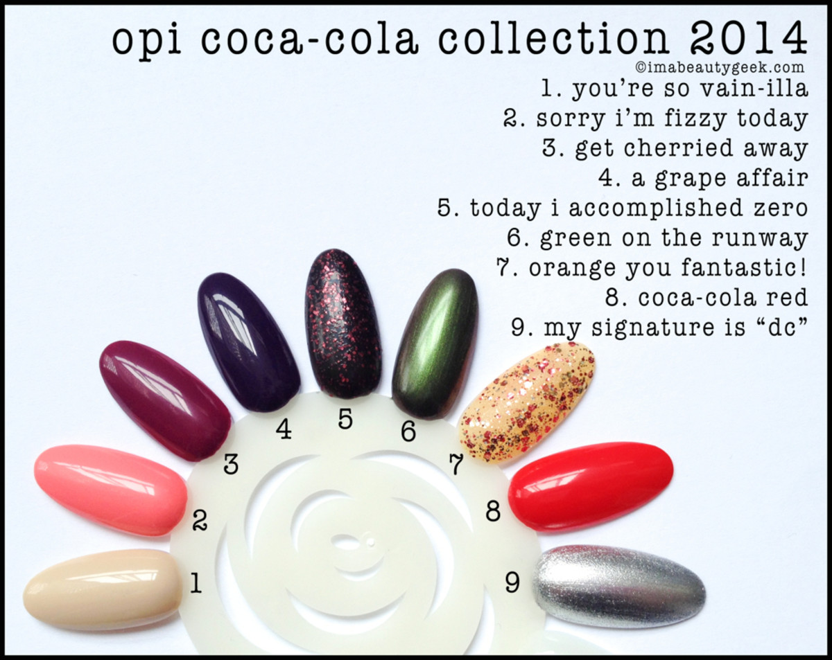 OPI CocaCola 2014 Swatch Wheel