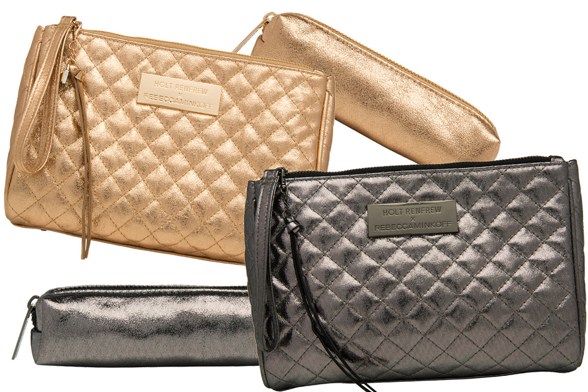Holt Renfrew Rebecca Minkoff Beauty Bag in gold and in gunmetal