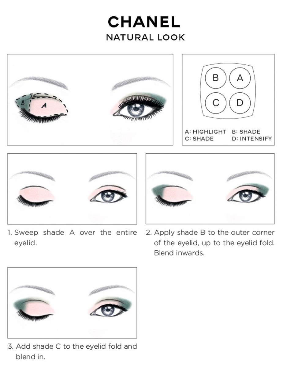 CHANEL Eye Makeup Chart_CHANEL NATURAL EYES LOOK how-to 2014