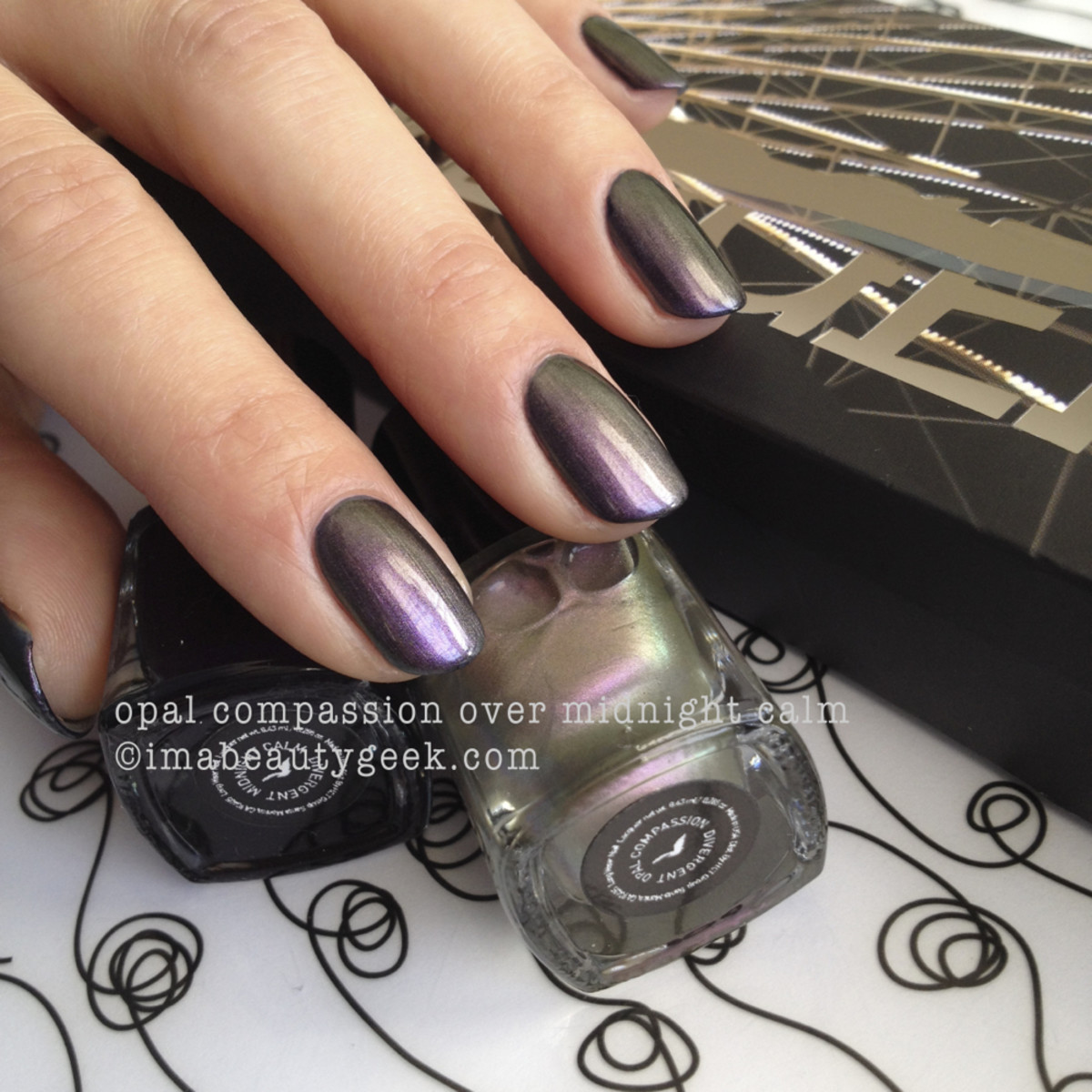 Divergent polish Opal Compassion over Midnight Calm_Divergent cosmetics