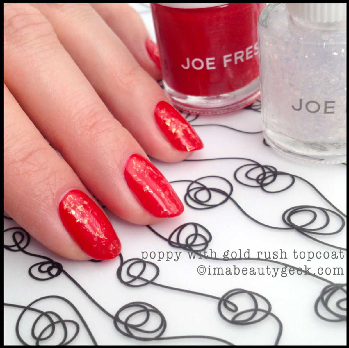 Joe Fresh Polish Poppy with Gold Rush Topcoat