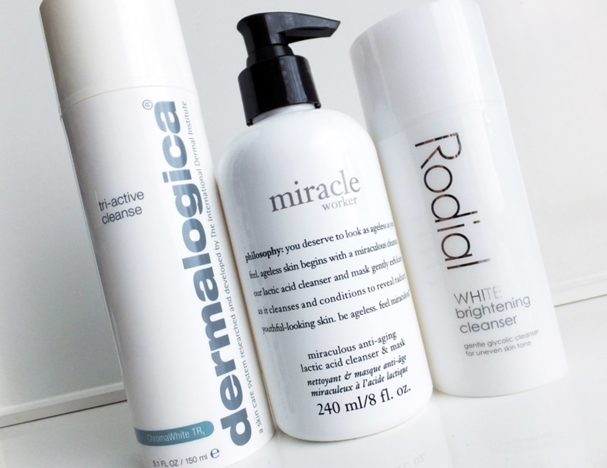 skin-smoothing cleansers_Dermalogica Tri-Active Cleanse_Philosophy Miracle Worker Lactic Acid Cleanser_Rodial White glycolic cleanser