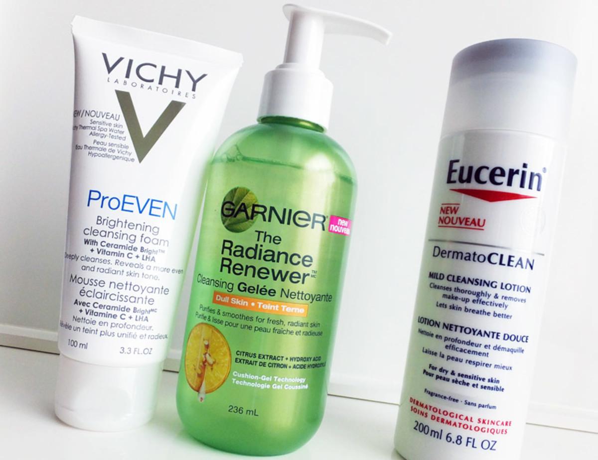 skin-smoothing cleansers_mild cleanser_Vichy ProEven Brightening_Garnier The Radiance Renewer_Eucerin DermatoClean milk
