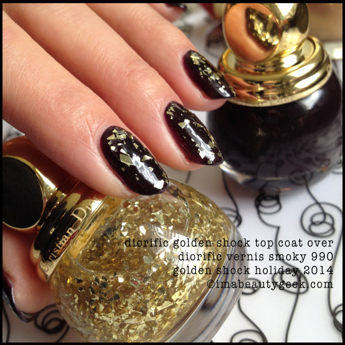 Dior Golden Shock 001 over Diorific Vernis Smoky Holiday 2014
