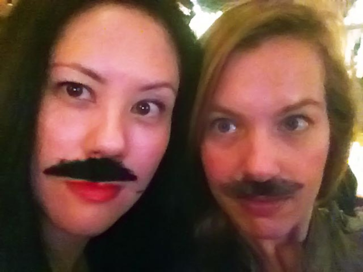 Moustache removal: BeautyEditor.ca's Michelle Villett and me. We're badass. Beauty badass.