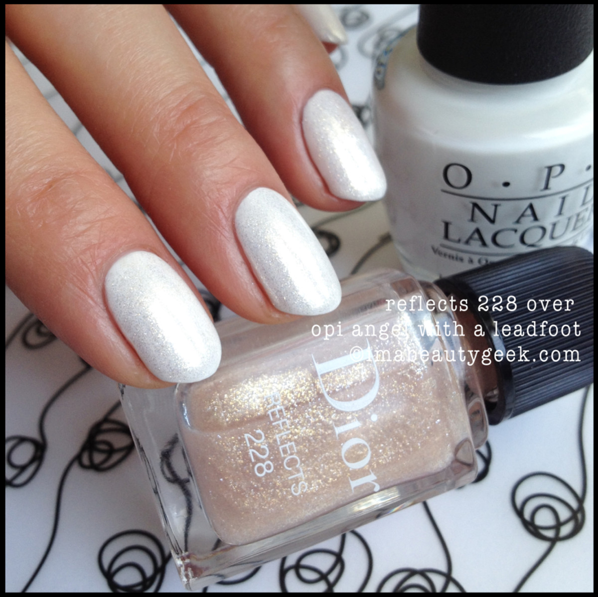 Dior Vernis Reflects 228 over OPI white