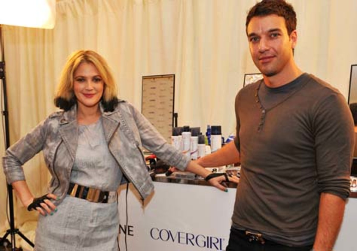 Drew Barrymore and CoverGirl makeup pro Greg Wencel