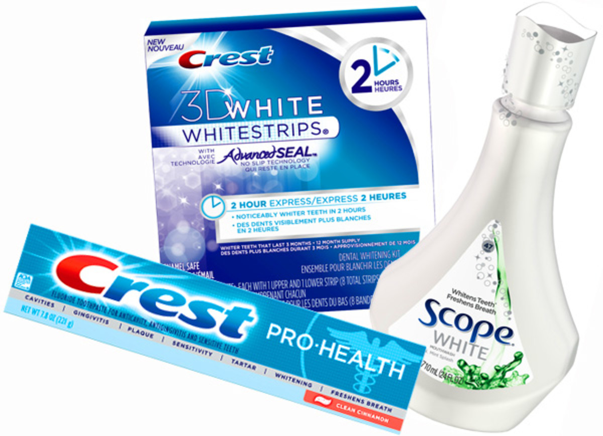 Crest Pro-Health Toothpaste_3D White Whitstrips 2 Hour Express_Scope White Mouthwash