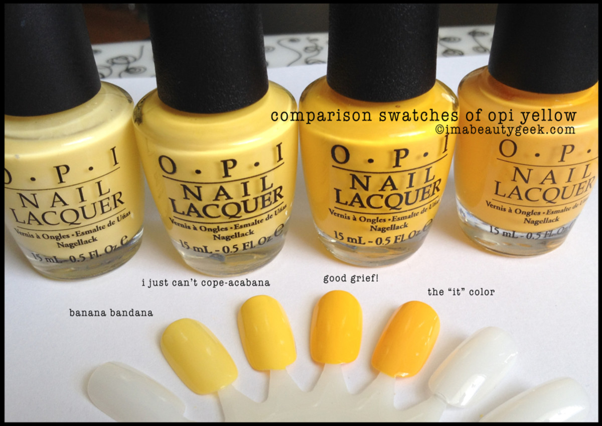 OPI Yellow Comparison Swatches
