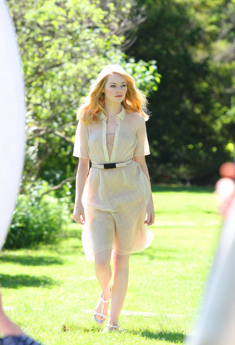 Emma Stone on the set of the Revlon Nearly Naked Foundation commercial shoot