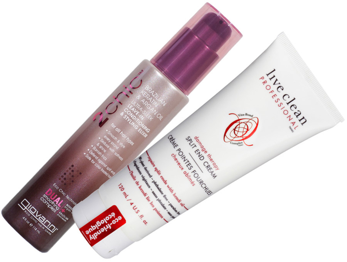 Giovanni 2chic Ultra Sleek Leave-In Conditioning & Styling Elixir_Live Clean Damage Therapy Split End Cream