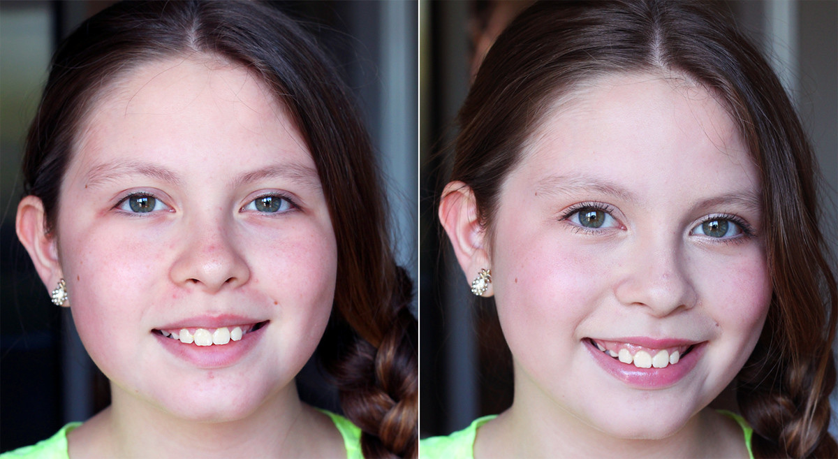 Age-appropriate tween makeup before and after.