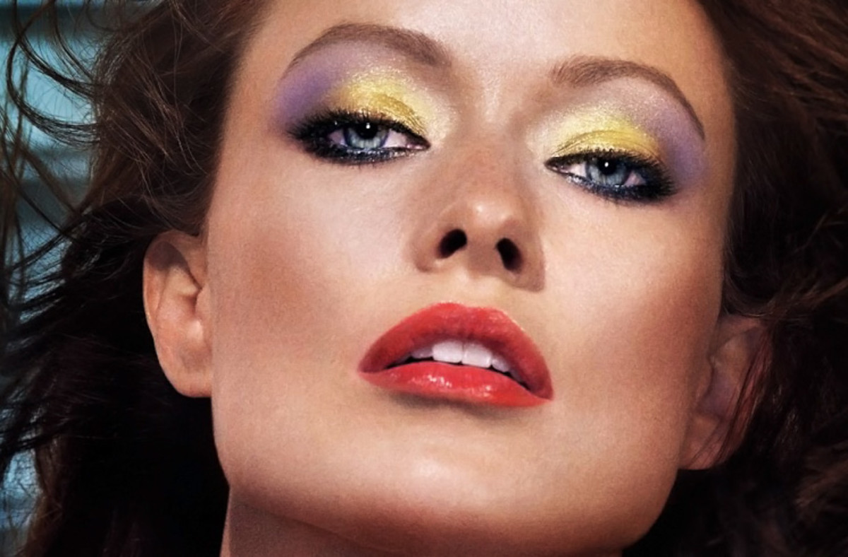 how to wear yellow eyeshadow_olivia wilde_revlon rio rush_exotic closeup