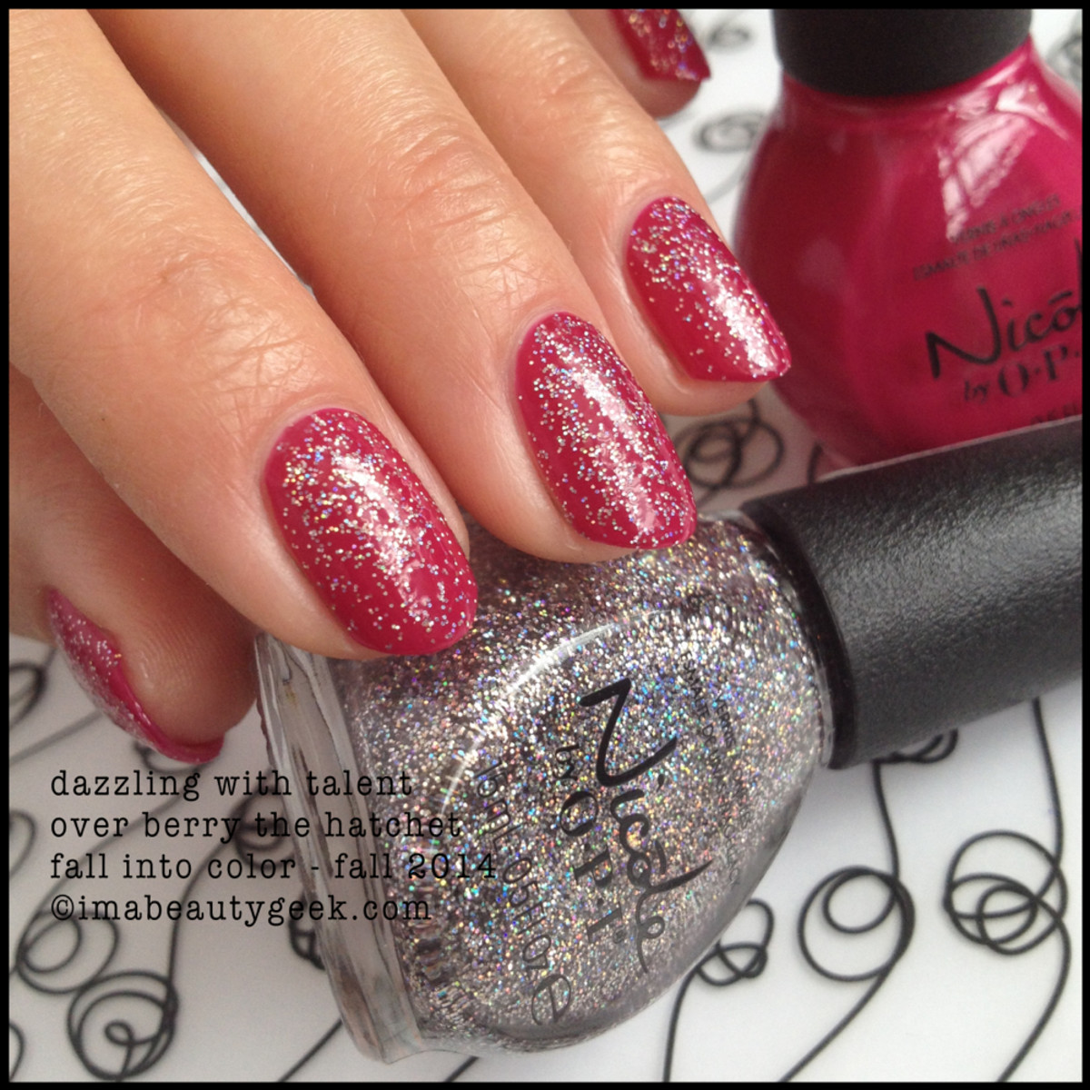 Nicole by OPI Dazzling with Talent over Berry the Hatchet Fall 2014