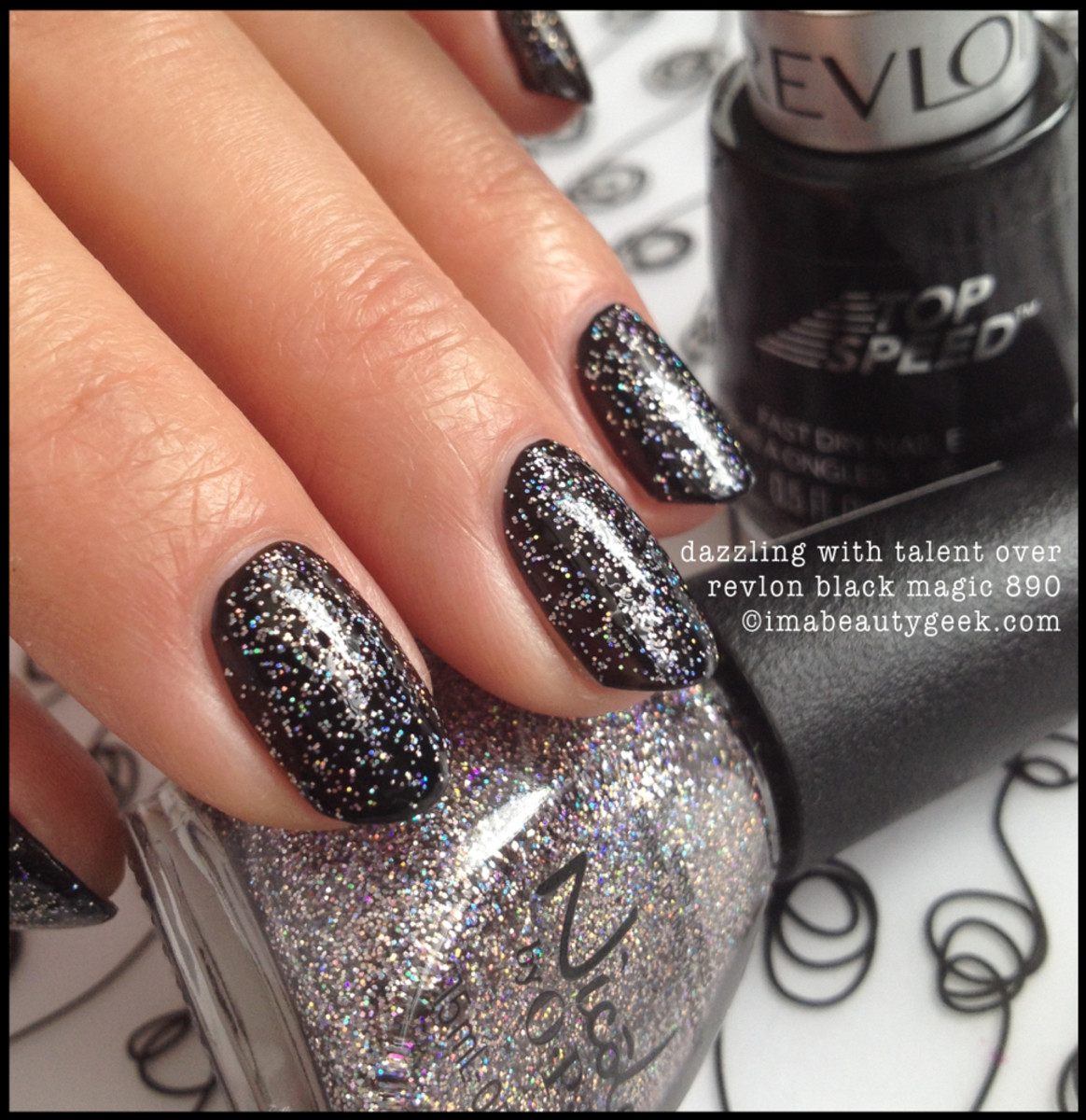 Nicole by OPI Dazzling with Talent over Revlon Black Magic Fall 2014