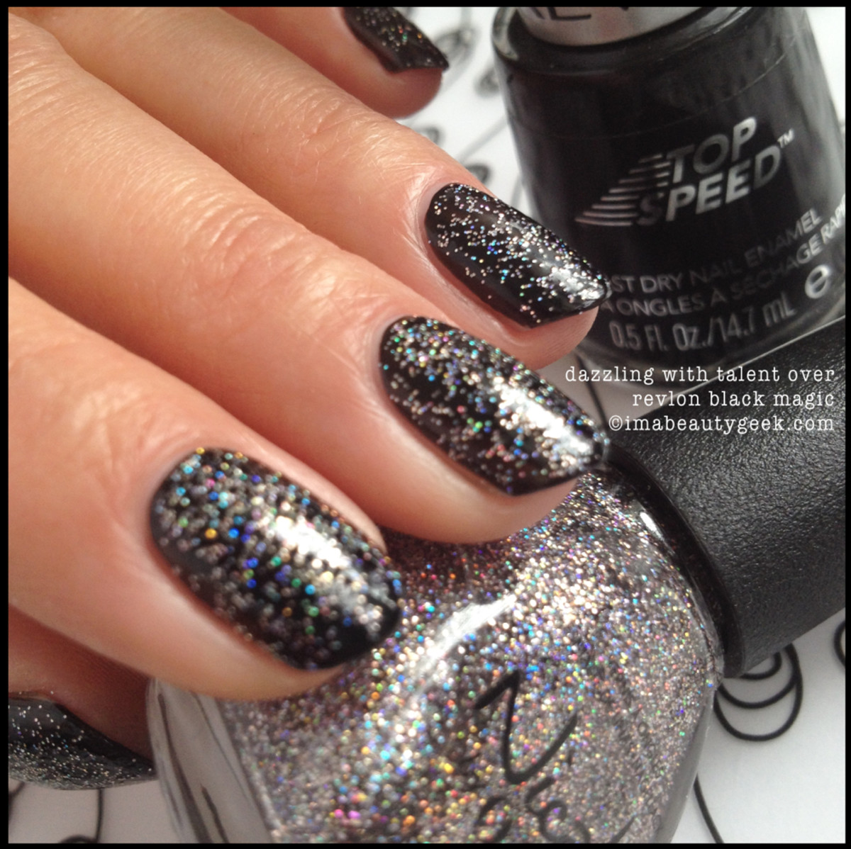 Nicole by OPI Dazzling with Talent over Black