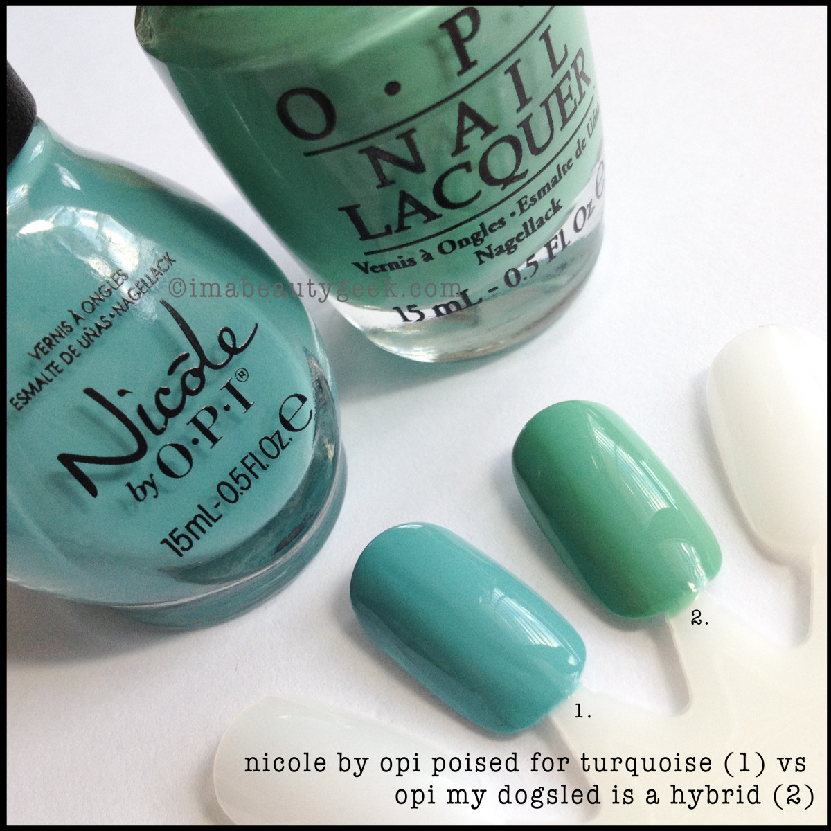 Nicole by OPI Poised for Turquoise comparison Swatch