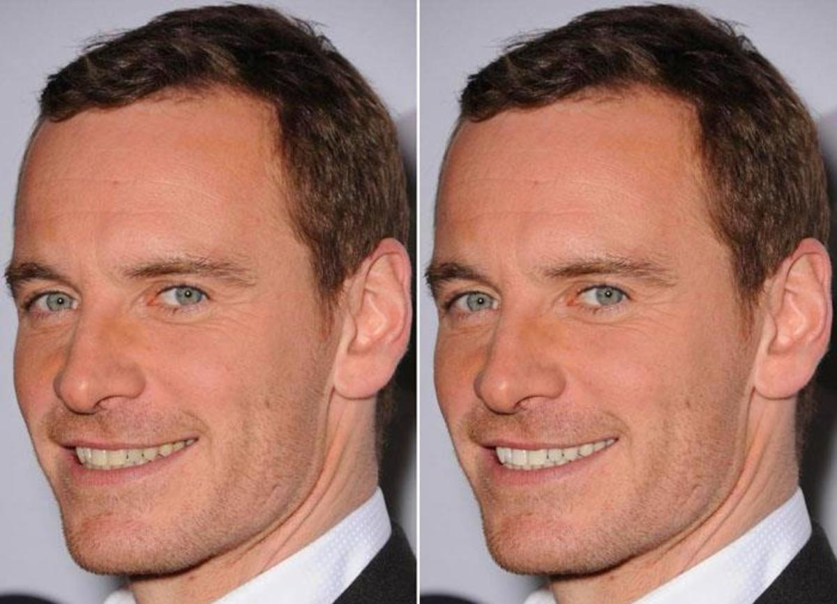 Michael Fassbender before and after Photoshop teeth whitening_2