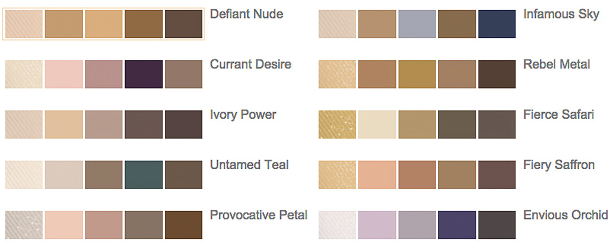 Estee Lauder Pure Color Envy Sculpting EyeShadow 5-Color Palette chart