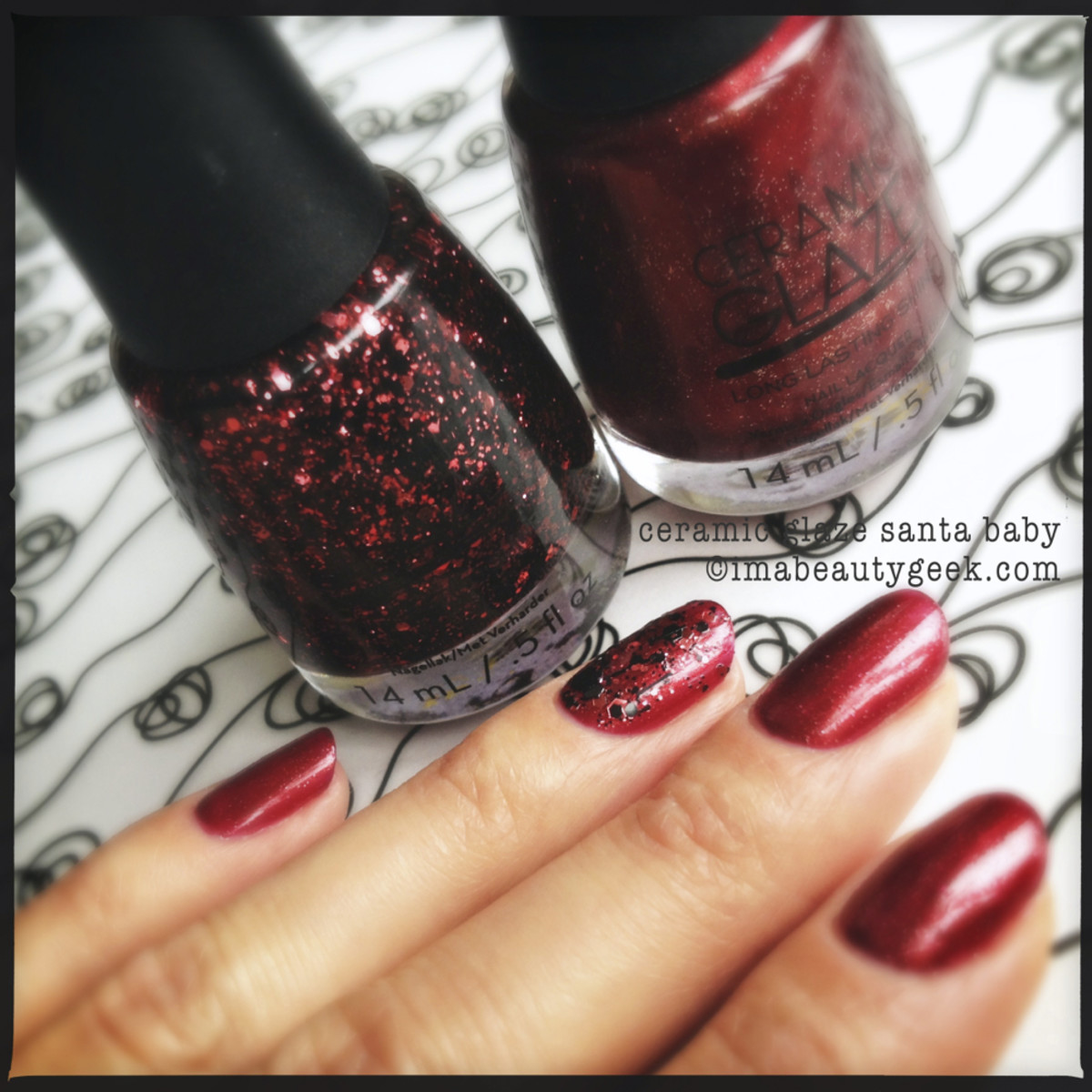 Ceramic Glaze nail lacquer in Santa Baby with Ceramic Glaze On the Naughty List Tinsel Glitter