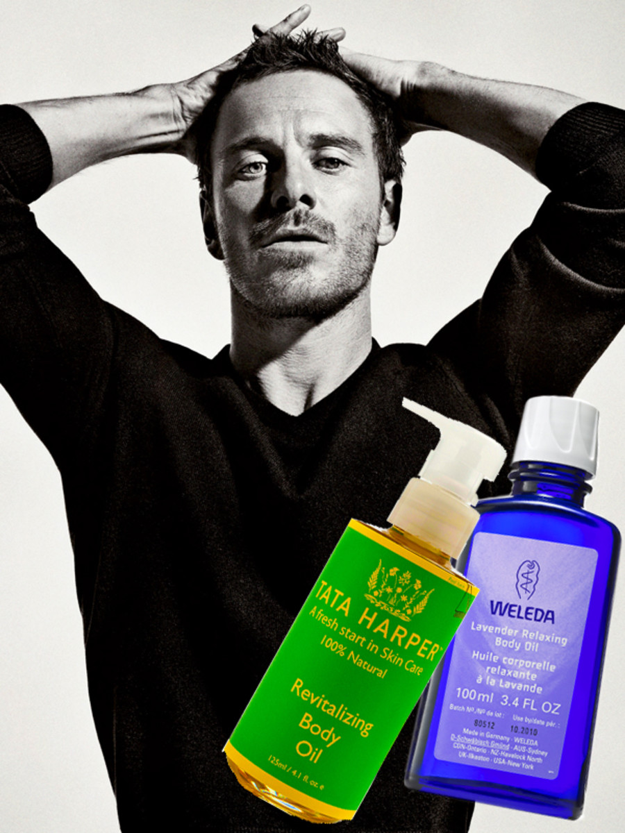 Tata Harper Revitalizing Body Oil_Weleda Lavender Relaxing Body Oil_Michael Fassbender_photo from interviewmagazine.com