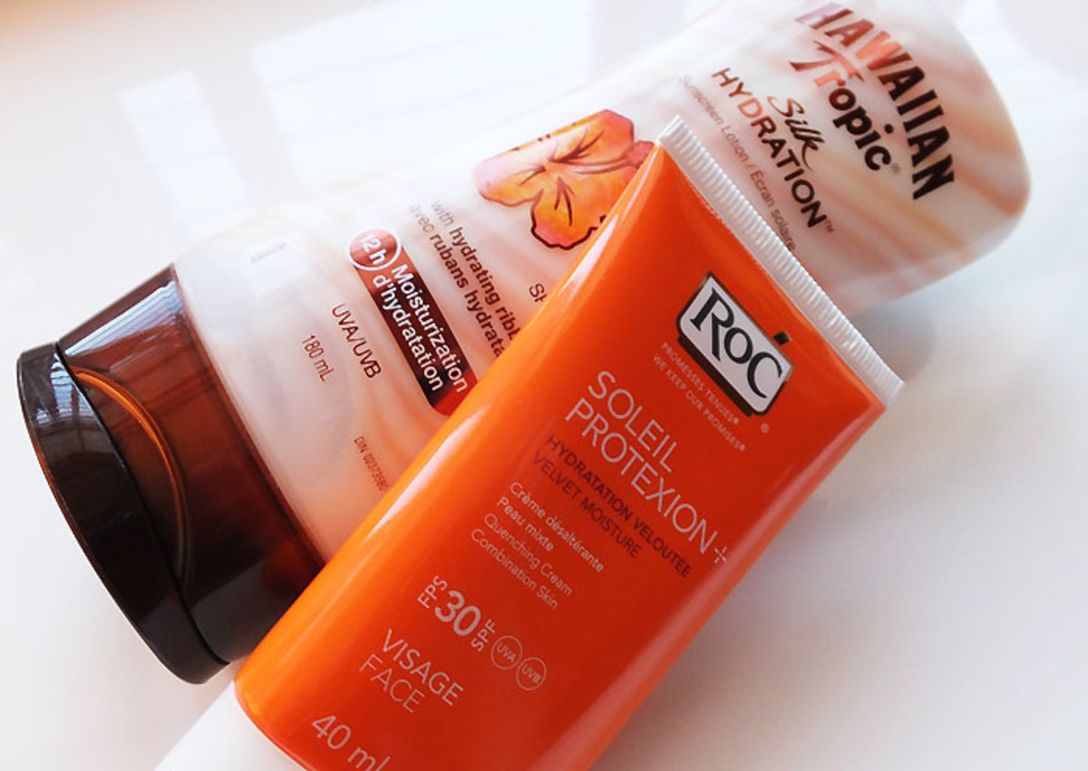 SPF for dry skin_Hawaiian Tropic Silk Hydration_RoC Soleil Protexion Velvet Moisture