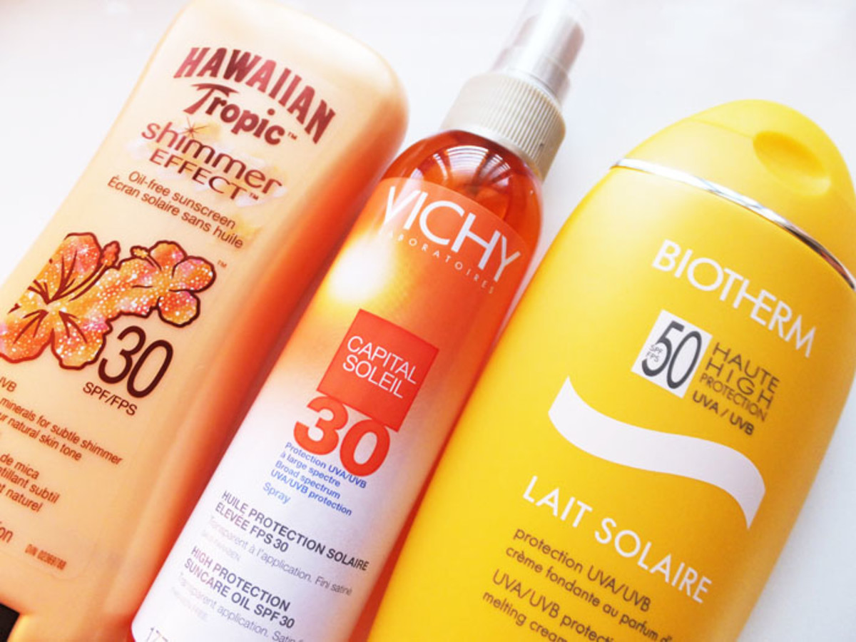 SPF for spa types_Hawaiian Tropic Shimmer Effect_Vichy Capital Soleil_Biotherm Lait Solaire