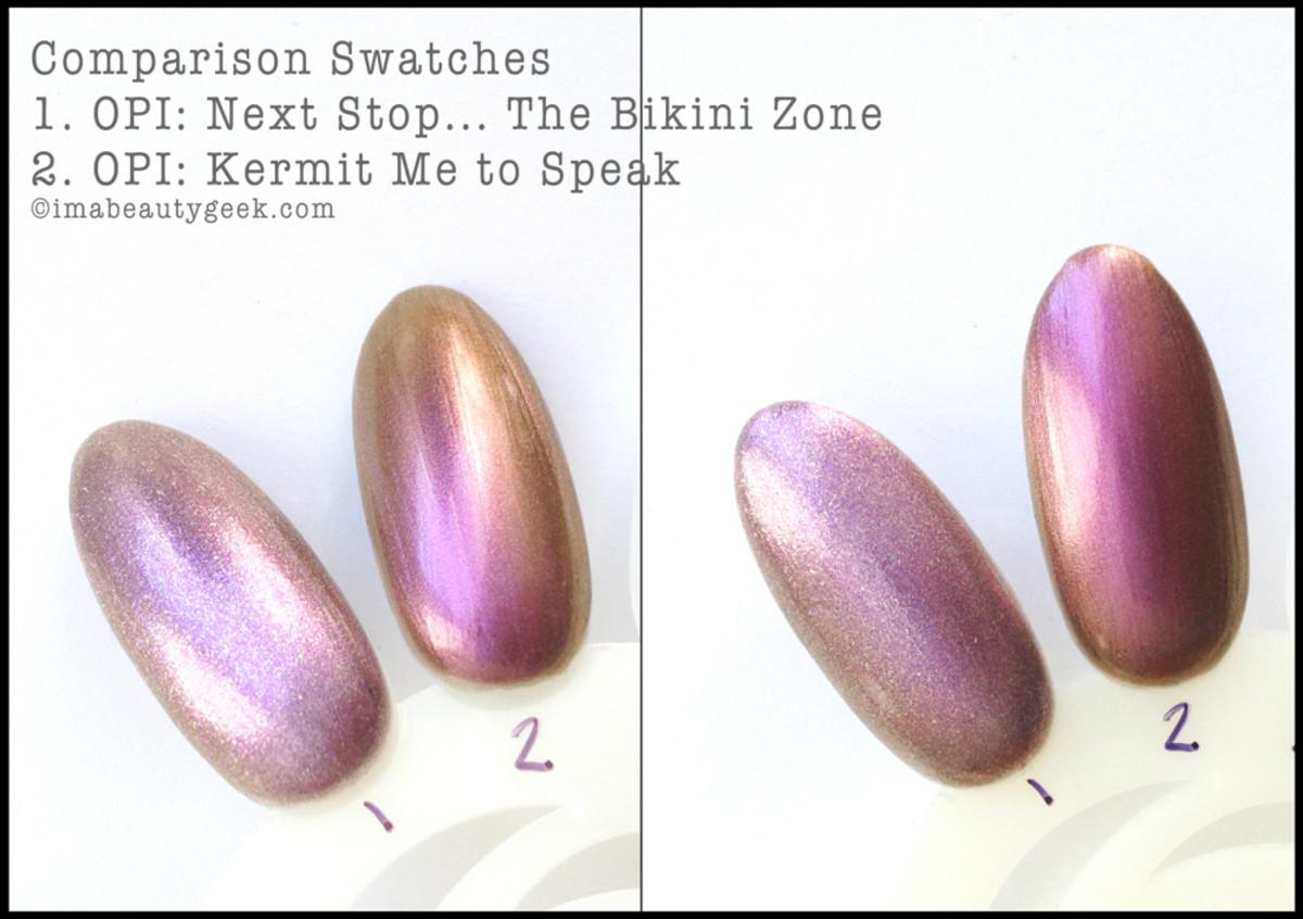 OPI Next Stop The Bikini Zone vs OPI Kermit Me to Speak Comparison Swatch