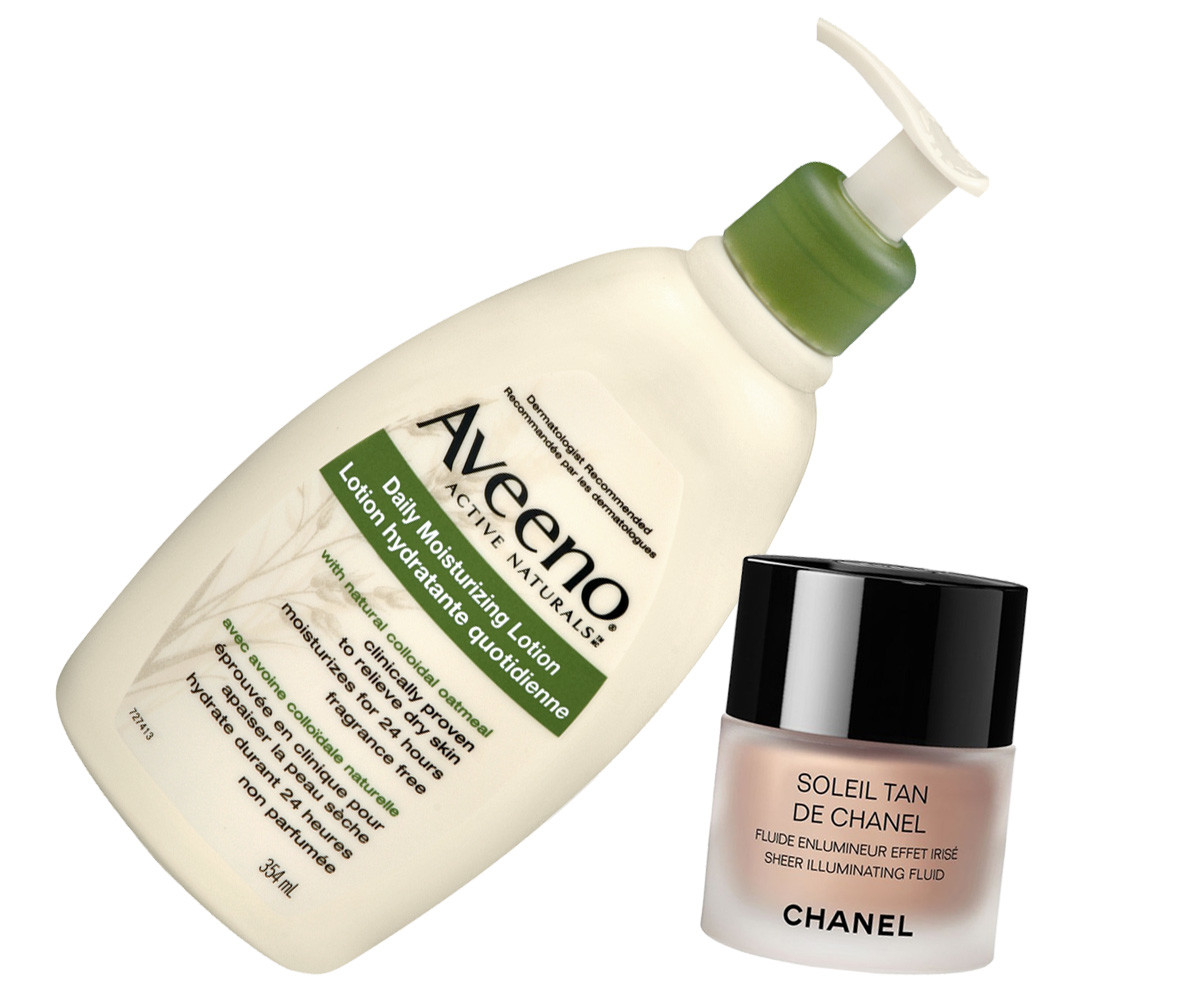 Jennifer Aniston_Horrible Bosses 2_red carpet makeup details_Aveeno Daily Moisturizing Lotion and Chanel Soleil Tan de Chanel Sheer Illuminating Fluid