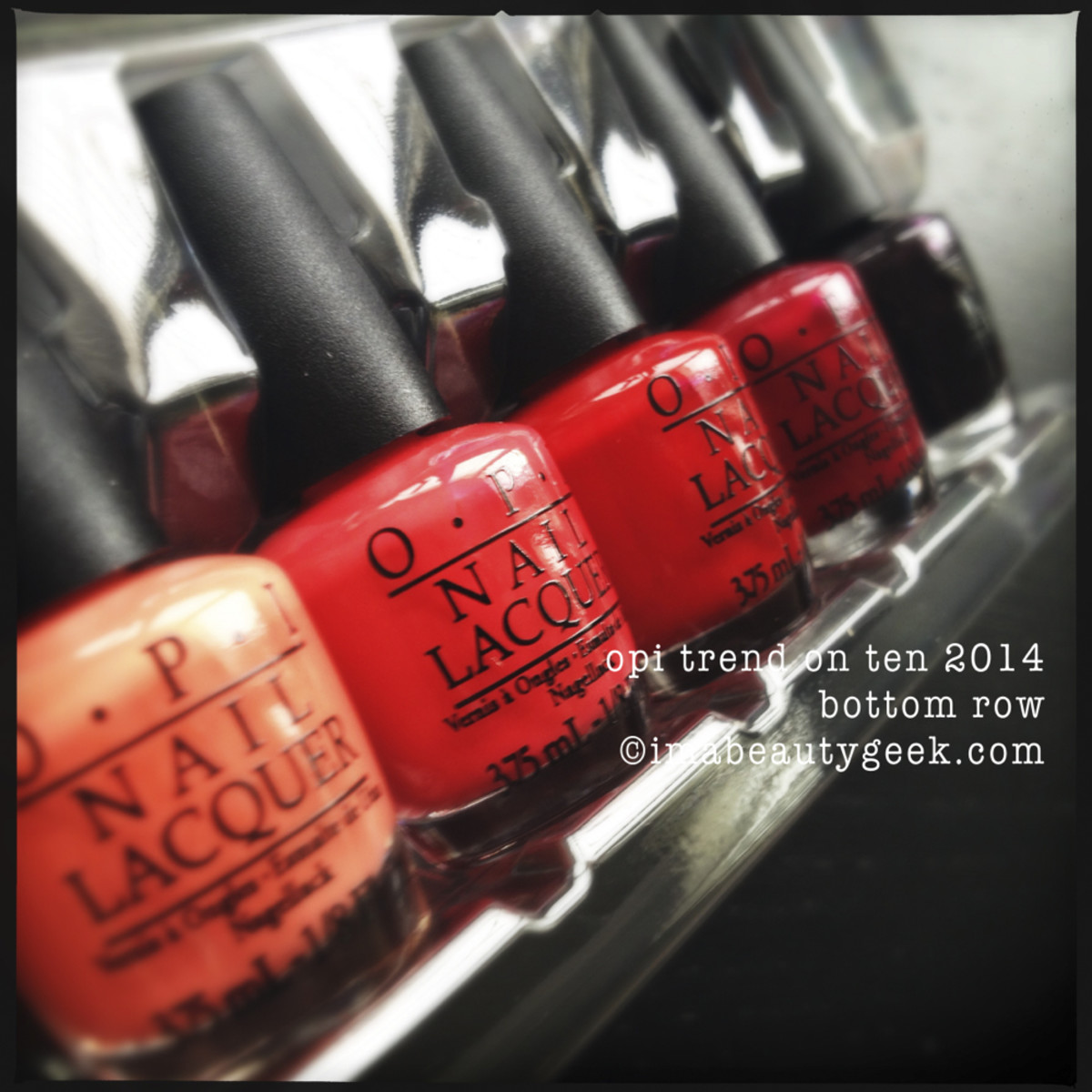 OPI Holiday 2014 Trend on Ten Reds
