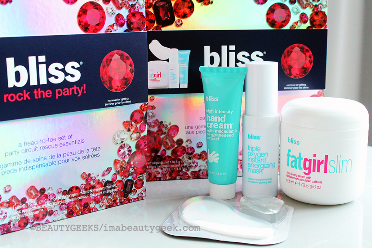 Bliss Holiday 2014_Bliss Rock the Party gift set_Bliss eye masks_Bliss High Intensity Hand Cream_Bliss Fat Girl Slim_Bliss Triply Oxygen Instant Energizing Mask