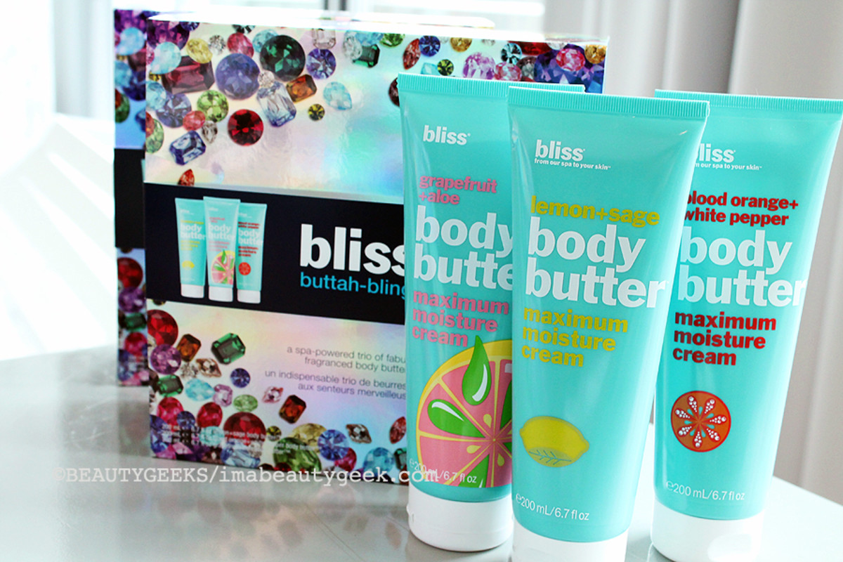 Bliss Holiday 2014_Bliss Buttah Bling gift set_Bliss Grapefruit and Aloe body butter_Bliss Lemon and Sage Body Butter_Bliss Blood Orange and White Pepper body butter