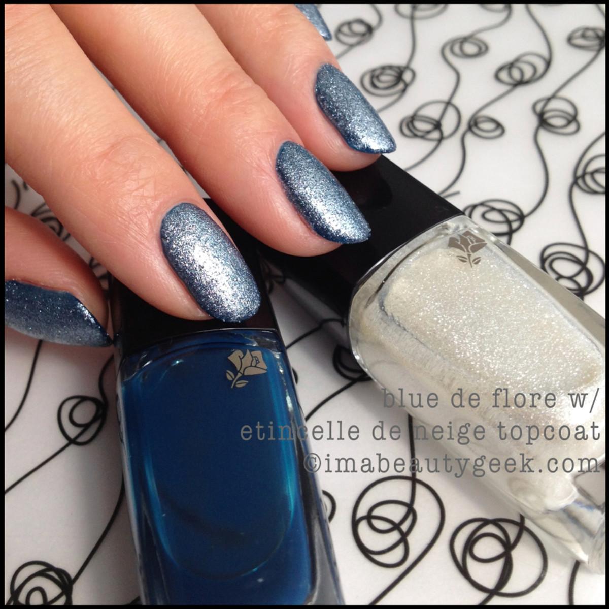 Lancome polish Bleu de Flore w Etincelle de Neige topcoat