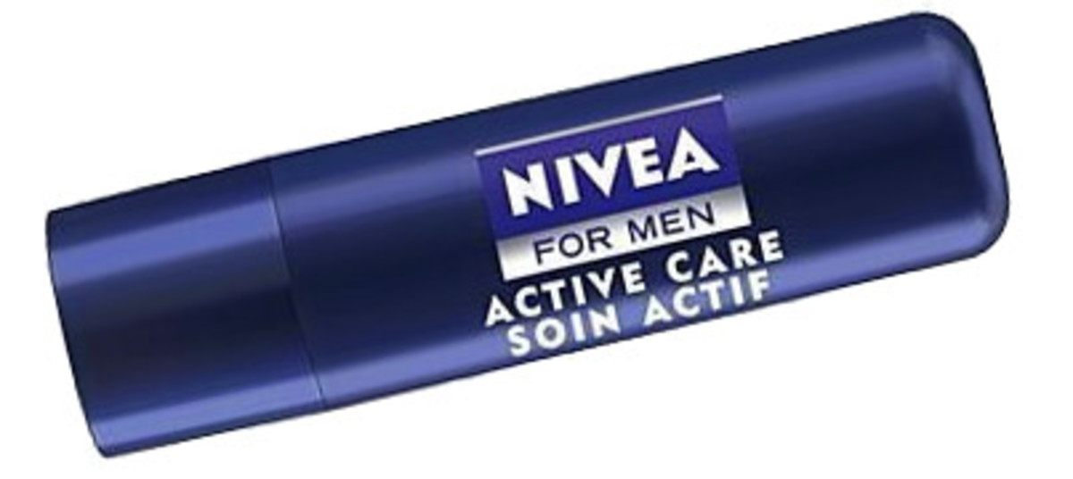best lip balms for men: nivea for men active care lip balm