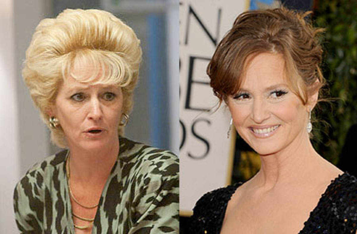 Melissa Leo in character for The Figher (left) and at the 2011 Golden Globes