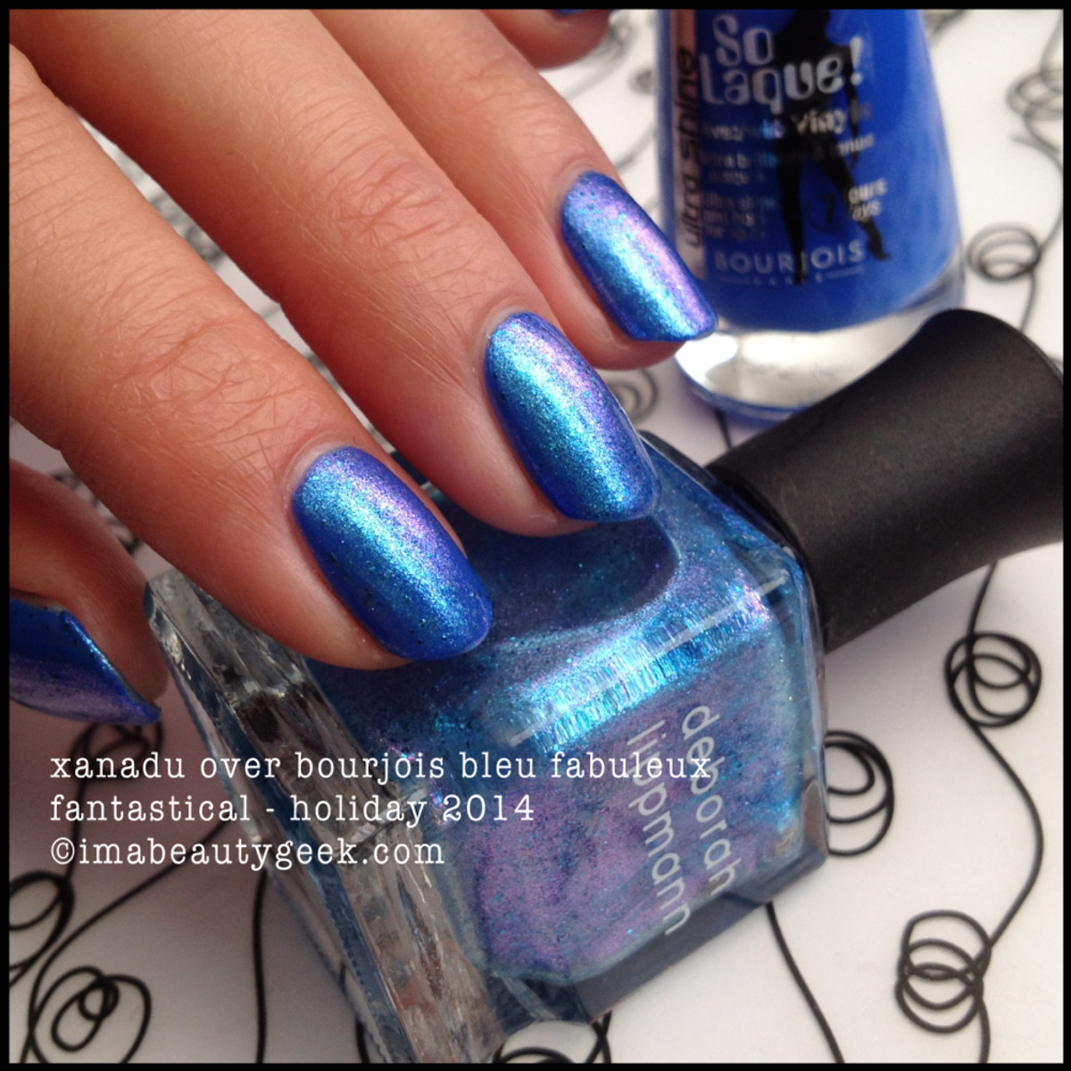 Deborah Lippmann Xanadu over Bourjois Blue Holiday 2014