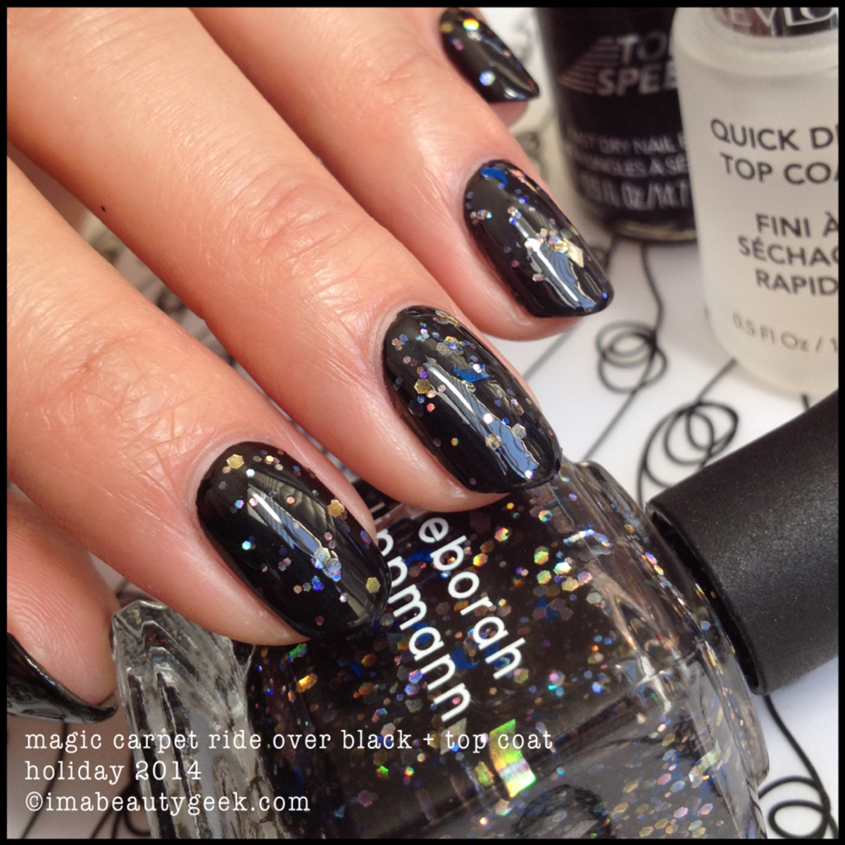 Deborah Lippmann Holiday 2014 Magic Carpet Ride over Black w Topcoat