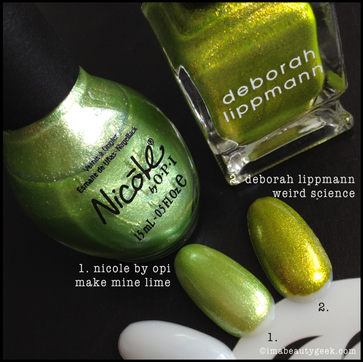 Deborah Lippmann Weird Science Comparison Swatch