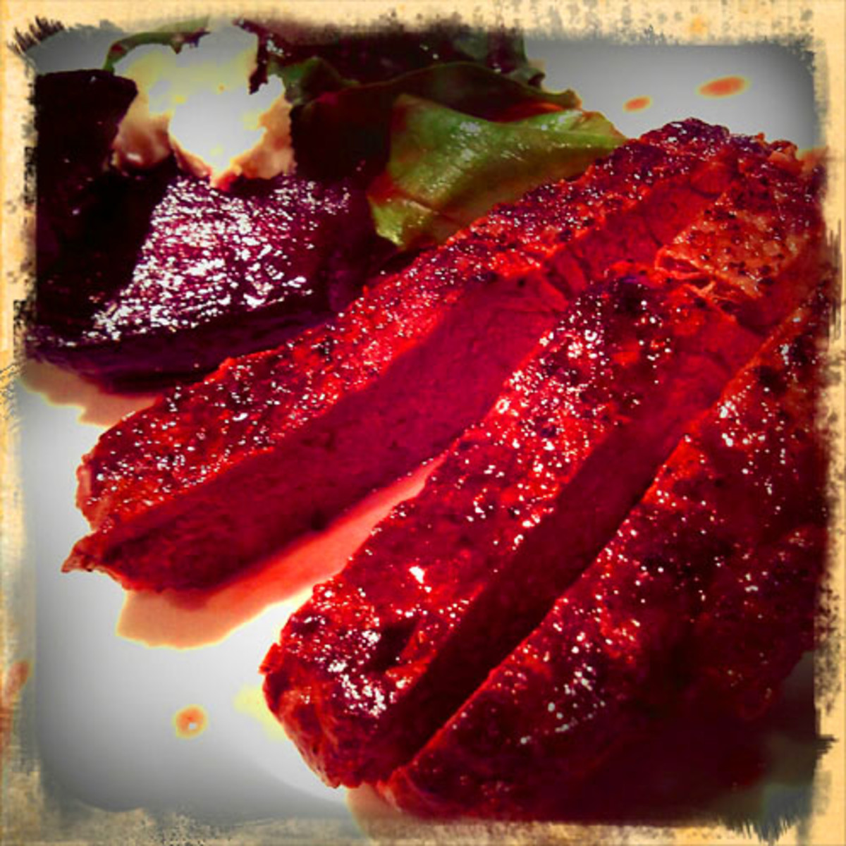 War Horse_horse sirloin w beets and blood-spatter jus