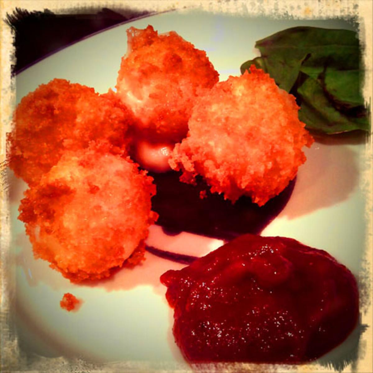 Moneyball_panko-encrusted bocanccini cheese w homemade ketchup