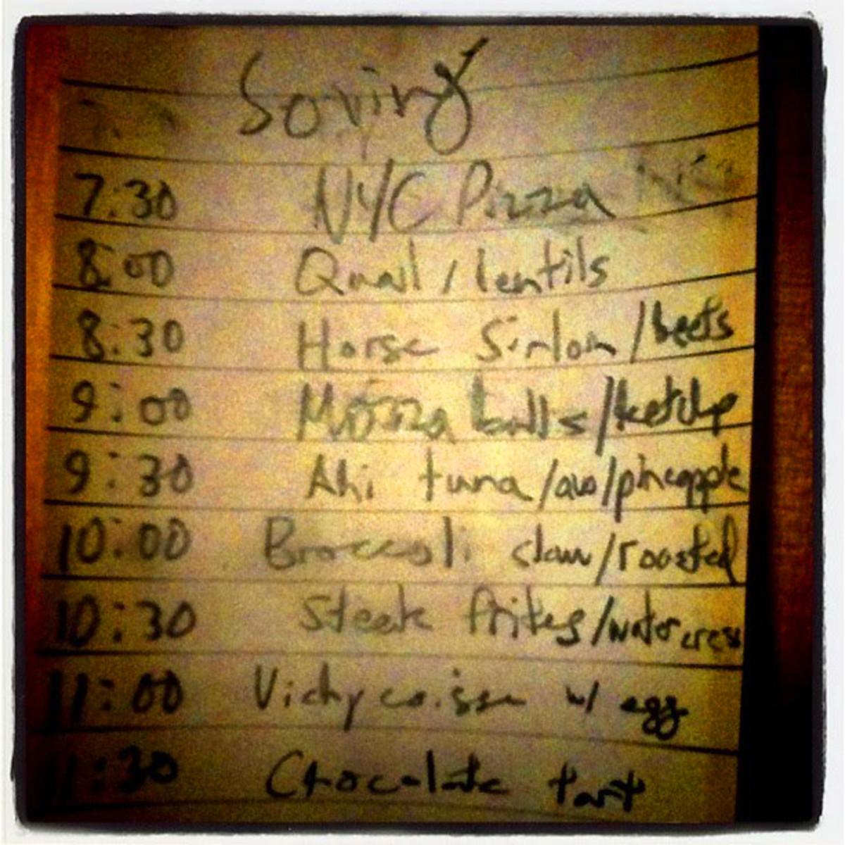 John's menu