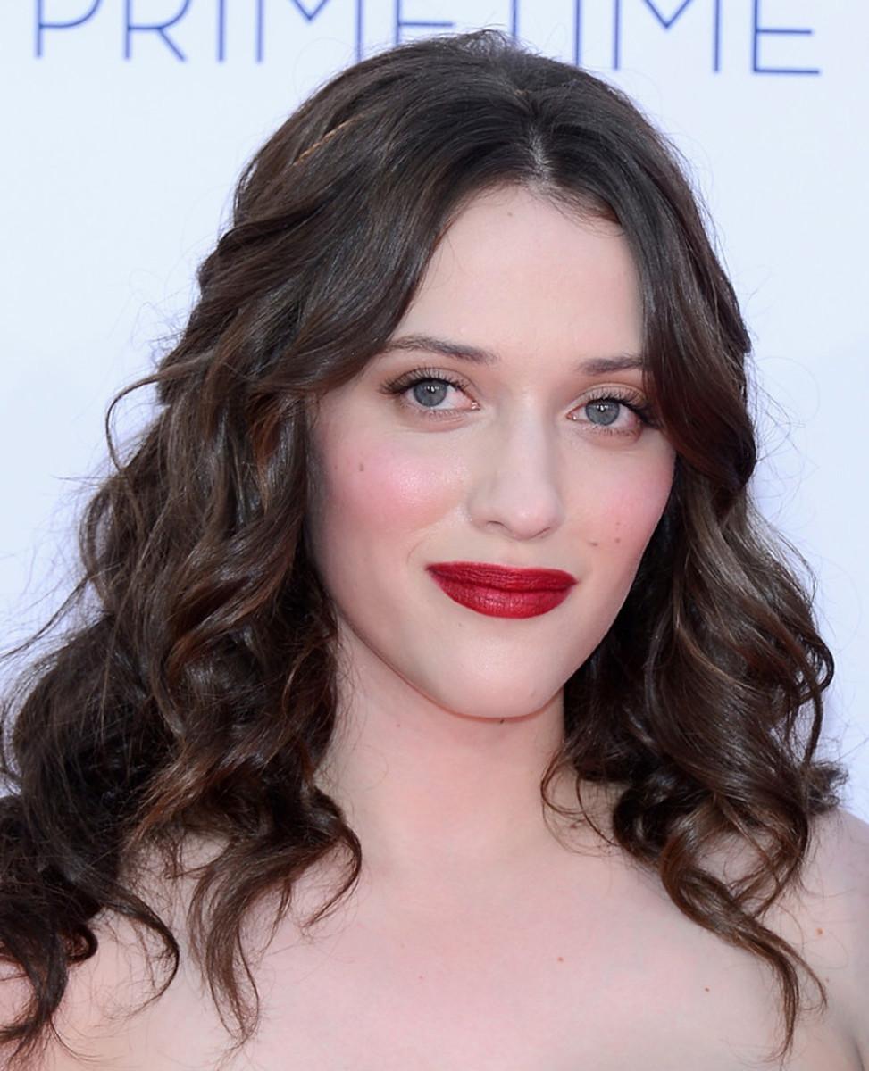 Kat Dennings romantic ruby lips flushed cheeks