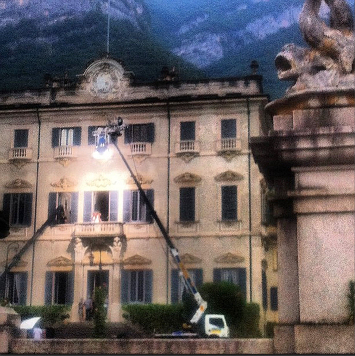 The Lake Como set of the Ian Somerhalder Azzaro Pour Homme campaign shoot.